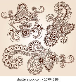 Henna Paisley Flowers Mehndi Tattoo Doodles Abstract Floral Vector Illustration Design Elements