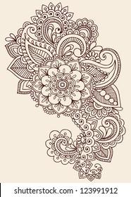 Henna Paisley Flowers Mehndi Tattoo Doodles Design- Abstract Floral Illustration Design Elements