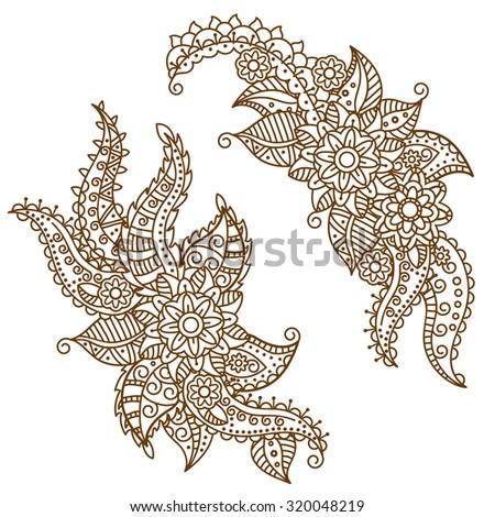 ffd8c2ec830fb Henna Paisley Flowers Mehndi Tattoo Doodles Design- Abstract Floral  Illustration Design Elements