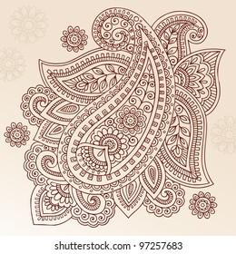 Henna Paisley Mehndi Doodles Abstract Floral Vector Illustration Design Element