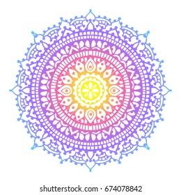 Henna style traditional mandala. Mehndi with gradient colors. Vector mandala design.