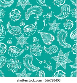 Henna tattoo doodle vector elements pattern on blue background