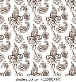 Henna tattoo mehndi flower doodle ornamental decorative indian design pattern paisley arabesque mhendi embellishment seamless pattern background vector.