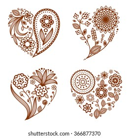 Henna Tattoo Ornamental Hearts. Mehndi style. Four floral one-color hearts. Smartly layered.