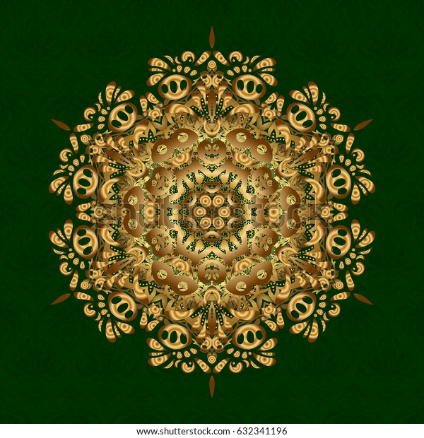 Henna tattoo style on a green background. Vector ethnic Mandala ornament.