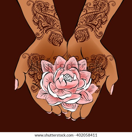 Henna Wedding Design Vector Illustration Hands Henna Stock Vector