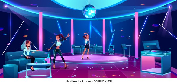 Hen-party in night club, bride or fiancee celebrating bachelorette with girl friends bridesmaids at nighttime restaurant dancing and drinking alcohol cocktails at disco bar Cartoon vector illustration