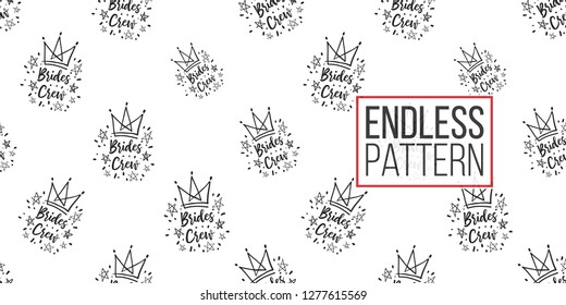 Hen-party seamless pattern with brides crew logo. Black and white illustration in hand drawn hipster style.