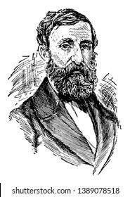 Henry David Thoreau, 1817-1862, he was an American essayist, poet, philosopher, abolitionist, naturalist, tax resister, and historian, vintage line drawing or engraving illustration
