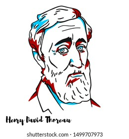 Henry David Thoreau engraved vector portrait with ink contours. American essayist, poet, and philosopher. A leading transcendentalist, Thoreau is best known for his book Walden.