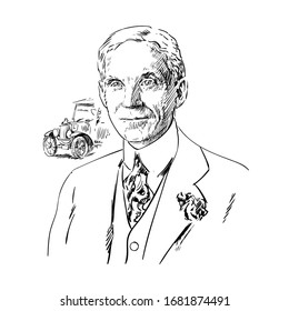 Henry Ford. Hand drawn portrait. Black and white vector illustration.