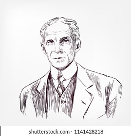 Henry Ford vector sketch illustration portrait face
