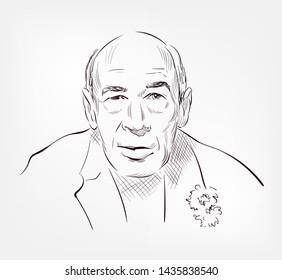 Henry Miller vector sketch portrait illustration