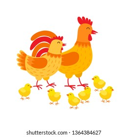 Hens family cute cartoon characters. Hen, rooster and chickens isolated on white background. Happy chicks vector illustration in flat design. Mother hen, father cockerel and yellow poults.