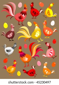 Hens, rooster and eggs background - vector