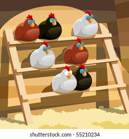 Hens sleep on a perch in a henhouse
