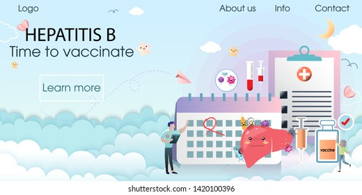 Hepatitis A, B, C Vaccination. Time to vaccinate. The doctor order for the vaccine, syringe with vaccine, bottle, calendar. Modern vector illustration concepts for website, apps. Vector illustration