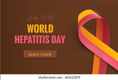 Hepatitis Awareness Ribbon Background. 28 July World hepatitis day. Vector illustration