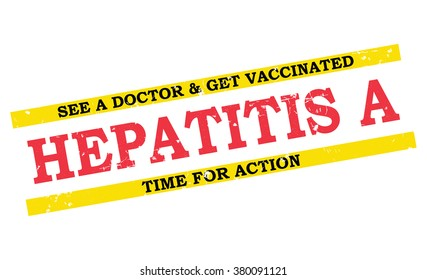 Hepatitis A grunge label / badge. See a doctor and get vaccinated. Print colors used.