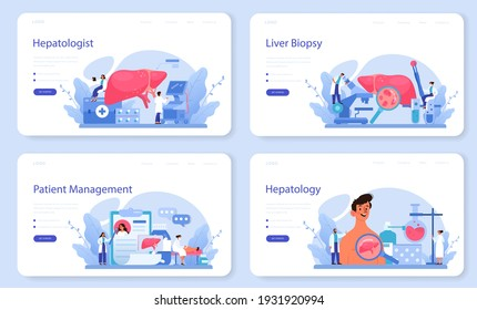 Hepatologist web banner or landing page set. Doctor make liver examination, hepatectomy. Idea of medical treatment, embolization therapy, cholescintigraphy. Isolated vector illustration