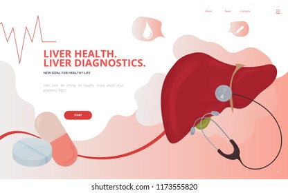 Hepatology and liver disease awareness concept vector illustration. Liver detoxification and hepatitis awareness site landing page wireframe. Hepatology conference report or banner template.