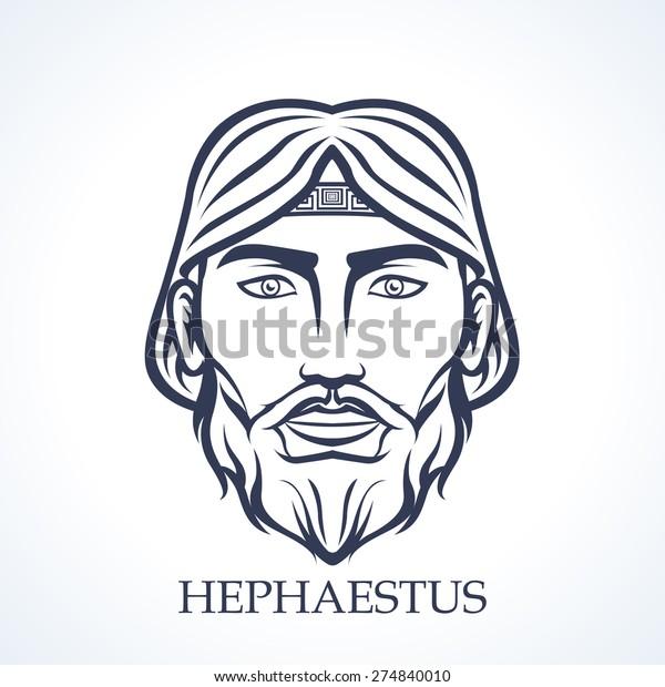 Hephaestus Ancient Greek God Fire Crafts Stock Vector