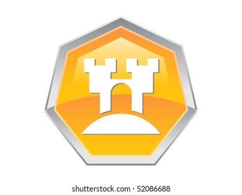 Heptagon Castle Design Button Icon
