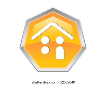 Heptagon Coin Person House Design Button Icon