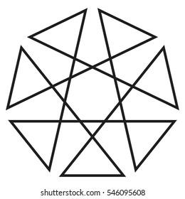 Heptagon geometric logo, heptagram design element, vector illustration