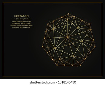 Heptagon golden abstract illustration on dark background. Geometric shape polygonal template made from lines and dots.