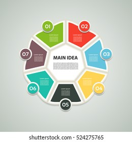 Heptagon infographic. Chart, diagram with 7 steps, options, parts, processes. Vector design element.
