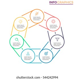 Heptagon for infographics with 7 steps, parts can be used for workflow layout, diagram, chart, annual report, presentation. Vector design template.