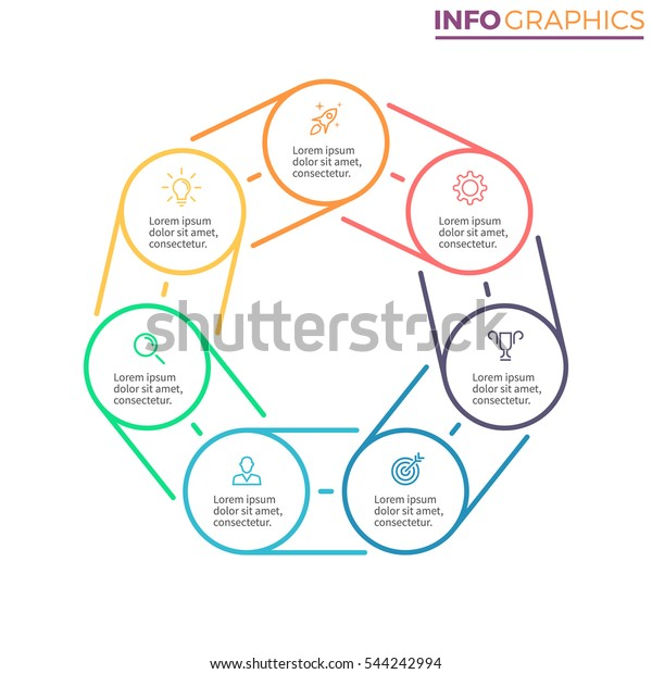 Heptagon Infographics 7 Steps Parts Can Stock Vector