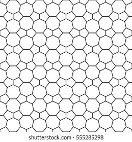 Heptagon and pentagon tile pattern - seamless editable repeating vector background wallpaper (White with black lattice)
