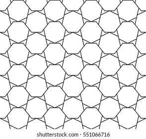 Heptagons pattern in monochrome, abstract geometric background
