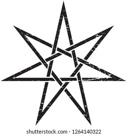 Heptagram or Elven Fairy unicursal Star vector isolated illustration. Witchcraft Heptagram distressed symbol.