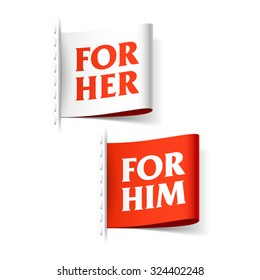 For her and for him labels. Vector.