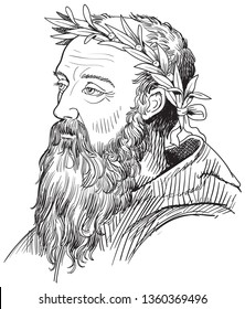 Heraclitus (540-480 BC) portrait in line art illustration. He was a Greek philosopher remembered for his cosmology, in which fire forms the basic material principle of an orderly universe.