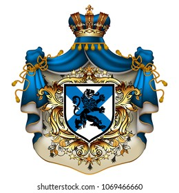 Heraldic background with a blue ermine royal mantle with a crown and shield