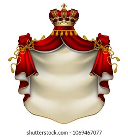 Heraldic background with a red ermine royal mantle with a crown