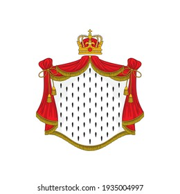 Heraldic background with red ermine royal mantle and crown isolated. Vector luxury king or queen cloth, monarch cloak with tassels and ropes. Heraldry coat of arms, authority and power mascot