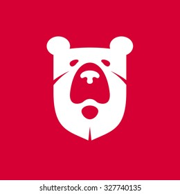 Heraldic bear. Vector flat vintage design template elements for your application or corporate identity.