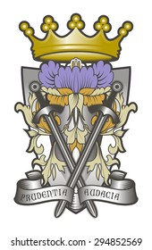 Heraldic coat of arms. Below parchment written in Latin: Prudentia e Audacia. On the middle two crossed swords. Flower and leaves Renaissance.
