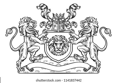 Heraldic coat of arms crest with lion supporters flanking shield and a knights helmet and filigree leaf design in vintage retro woodcut style.