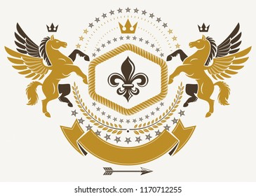 Heraldic Coat of Arms decorative emblem isolated vector illustration made with graceful Pegasus, imperial crown and Lily flower royal symbol..
