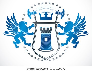 Heraldic Coat of Arms decorative emblem isolated vector illustration composed using gryphon mythic creature and ancient tower.