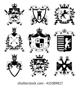 Heraldic coat of arms family crest and shields emblems design black icons collection abstract isolated vector illustration