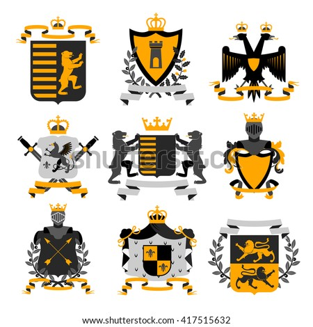 Heraldic Coat Arms Family Crest Shields Stock Vector Royalty Free