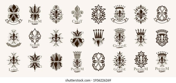 Heraldic Coat of Arms with Lily Flower and crowns symbol vector big set, vintage antique heraldic badges and awards collection, symbols in classic style design elements, De Lis.