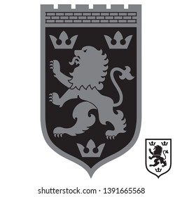 Heraldic coat of arms. Heraldic lion and three Crowns on the knights shield, isolated on white, vector illustration